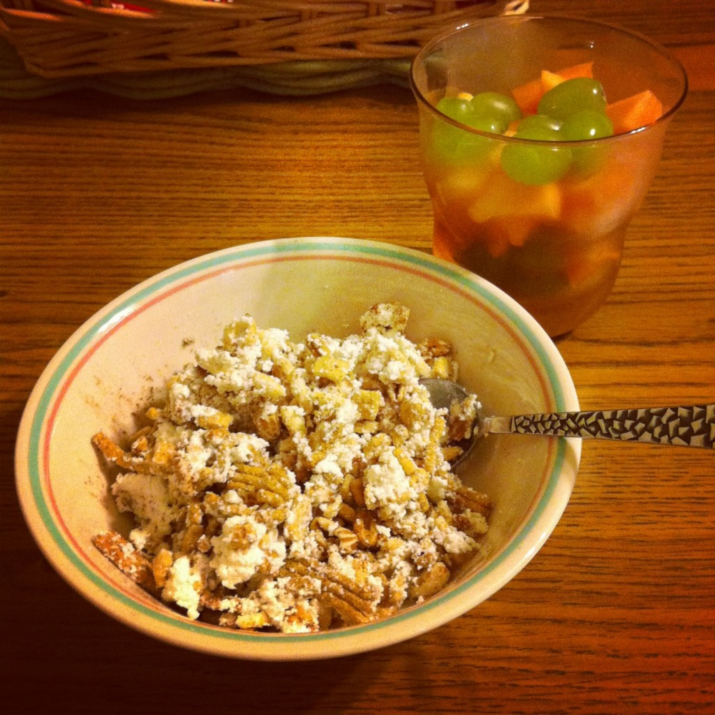 Breakfast of fat free ricotta, Kashi, and fruit. PROTEIN PARTY!