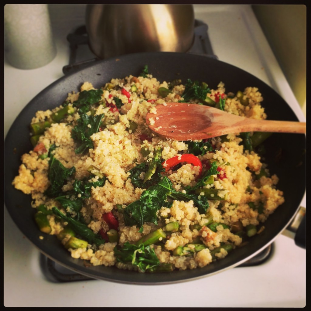 Quinoa with kale, roasted red peppers, roasted eggplant, and asparagus.