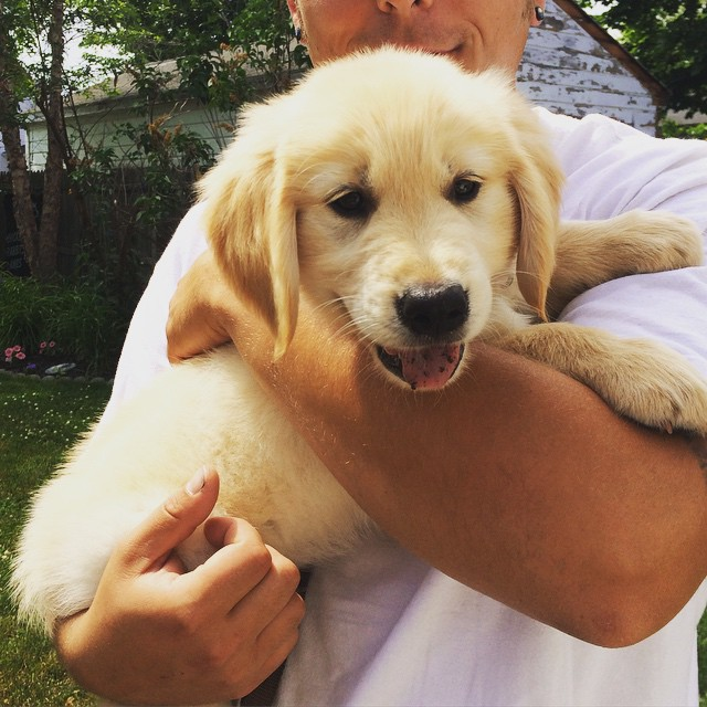 Here he is with Daddy on his first day home!